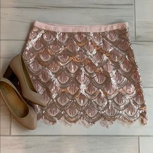 Free People Gold/Pink Sequin Skirt
